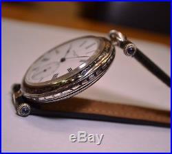 Vacheron Constantin antique men's wristwatch solid silver black enamel niello