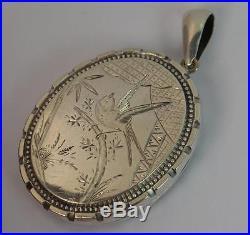 Victorian Aesthetic Movement Large Solid Silver Locket Pendant of Bird Design