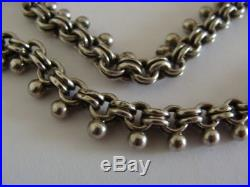 Victorian Antique 1893 solid silver locket and collar chain