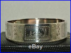 Victorian Circa 1880 Solid Silver Bangle Bracelet Sterling Excellent Condition