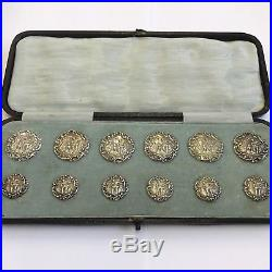 Victorian Fine Quality Cased Set Of 12 Solid Silver Buttons Walker & Hall 1900