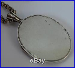 Victorian Greek God Design Large Solid Silver Locket Pendant with 16 Chain