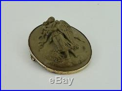 Victorian High Relief Angel Cherub Carved Lava Cameo Gold On Solid Silver Brooch