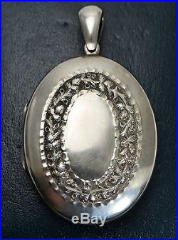 Victorian LARGE Antique SOLID SILVER Ornate GARLAND of FLOWERS Locket / Pendant