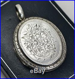 Victorian Large SOLID SILVER Day & Night DOUBLE SIDED Reversible Engraved LOCKET