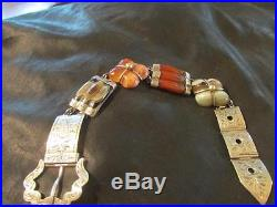 Victorian Rare Quality Solid Silver & Scottish Banded Agate Buckle Bracelet1880s