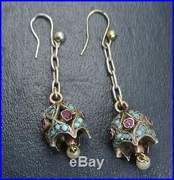 Victorian SOLID SILVER & 9K GOLD Persian Turquoise, Ruby & Pearl BELL EARRINGS