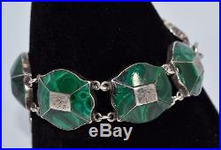 Victorian SOLID SILVER & GREEN MALACHITE Panel BRACELET with Engraved Leaves
