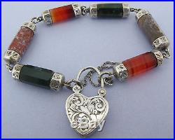 Victorian Scottish Solid Silver Agate Pebble Bracelet w Ornate Heart Padlock