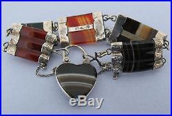 Victorian Scottish Solid Silver Agate Pebble Bracelet w Padlock w Locket Back