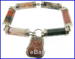Victorian Scottish Solid Silver Pebble Bracelet w Ornate Padlock w locket Back