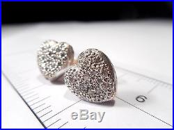 Victorian Solid Silver 9ct Gold Diamond Heart Earrings