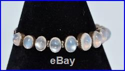 Victorian Solid Silver & MOONSTONE Graduated 11 Stone BRACELET Antique
