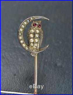 Victorian Solid Silver OWL & CRESCENT MOON Stick Pin Seed Pearl & Garnet Eyes