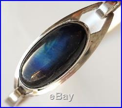 Vintage 1960s Modernist Solid Silver & Labradorite Bracelet Erik Granit Finland