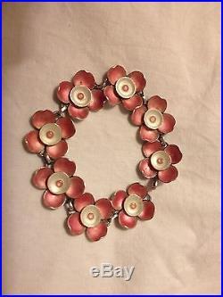 Vintage 50s Artisan Designer Solid Silver Pink Enamelled Flower Bracelet & Box