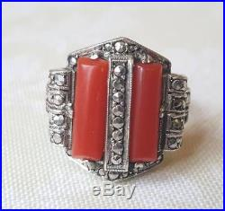 Vintage Art Deco Solid Silver Marcasite And Coral Ring Theodor Fahrner