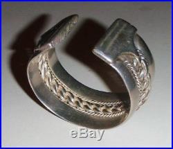 Vintage Bedouin Egyptian Siwa Solid Silver Heavy Cuff Bracelet 146 Grams