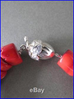 Vintage Blood Red Coral Bead Heavy Necklace 211g Solid Silver Acorn Clasp