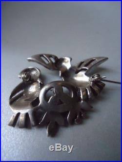 Vintage CIRO Rare Nesting Pair Birds Pearl Solid Silver Paste Brooch 19g Nr Mint