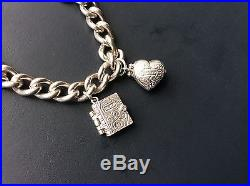 Vintage Chunky Solid Silver bracelet with beautiful Vintage Solid Silver charms