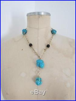 Vintage Danish Turquoise Necklace with Gold Vermeil Solid Silver Smokey Quartz