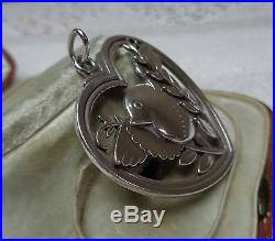 Vintage Georg Jenson 1933-1944 bird/heart pendant design no. 97 solid silver