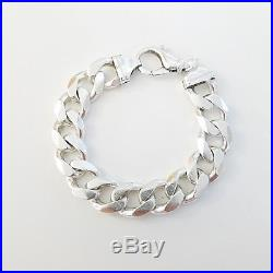 Vintage Italian Bold Solid Link Chain Bracelet solid 925 Silver 83.3gr