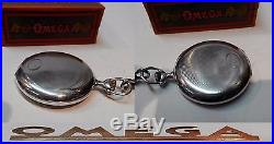 Vintage Mens Pocket Watch Omega Open Face Swiss Made Solid Silver Box And Chain