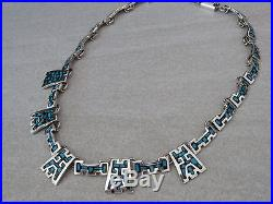 Vintage Mexico solid sterling silver and enamel necklace 70s