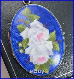 Vintage SOLID SILVER & Enamel ROSES Flowers Unusual LOCKET Pendant on 25 Chain