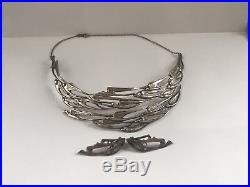 Vintage Scottish 60's solid silver flight of swallows necklace and earrings set
