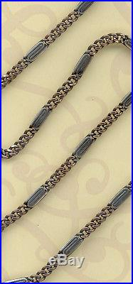 Vintage Solid Silver Niello And Vermeil Gold Pocket Watch Chain Seal 800 Mask