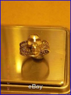 Vintage Solid Silver Skull Ring Memento Mori Hallmarked Birmingham 1951 size Q