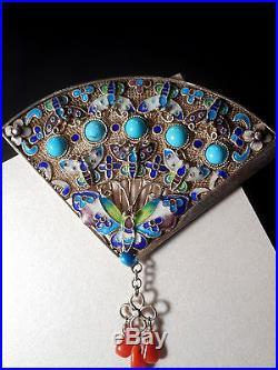 Vintage Solid Silver Turquoise Coral Enamel Brooch