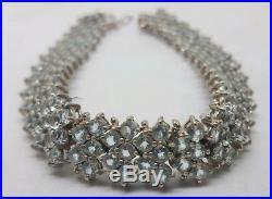 Vintage Solid Sterling Silver Aquamarine Bracelet