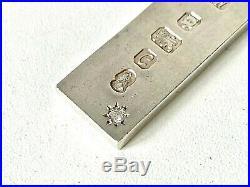 Vintage Solid Sterling Silver & DIAMOND 1977 Queens Jubilee INGOT Pendant 1.3OZ