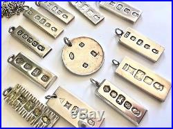 Vintage Solid Sterling Silver JOBLOT of INGOTS Pendants 12 in Total! 323gram
