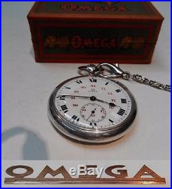 Vintage Swiss Made Mens Pocket Watch Omega Solid Silver Open Face Box And Chain