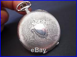 Vintage rare HEBDOMAS DAY DATE pocket watch solid silver open face mint cond