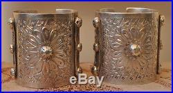 Vintage solid berber Bedouin silver bracelets Cuff PAIR