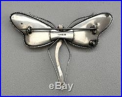 Vtg Art Nouveau c1910 Large Solid Silver Dragonfly Brooch Morpho Butterfly Wing