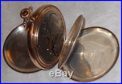 Vtg Elgin TriColor Gold SOLID. 925 SILVER Hunter DEER Pocket Watch STUNNING 1911