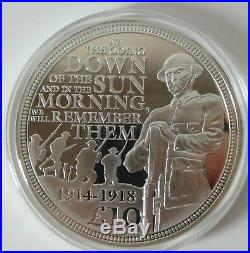 WWI 5oz solid silver proof £10 coin Guernsey 2014 Ltd ed 93/ 450 box & COA 1236
