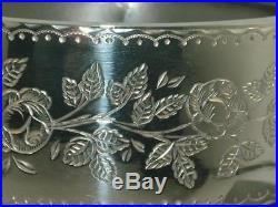 Wide Victorian Solid Silver Floral & Leaf Decorated Bangle Bracelet Sterling