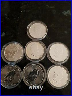 X7 solid 999 silver 2014 mapel leaf in Protective capsules