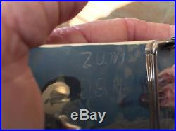 Zuni Inlaid Belt Buckle in Solid Silver Signed by Artist. Unusual Rare Vintage