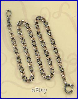 +rare Vintage Solid Silver Niello And Vermeil Gold Pocket Watch Chain Seal 800